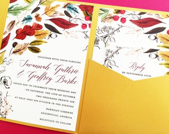 Wedding Invitation, Pocket Fold Wedding Invitation, Pocket Invitation, Wedding Invite, Fall Wedding Invitations, Autumn Wedding Invitations