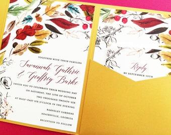 Wedding Invitation, Pocket Fold Wedding Invitation, Pocket Invitation, Wedding Invite, Fall Wedding Invitations, Autumn Wedding Invitations