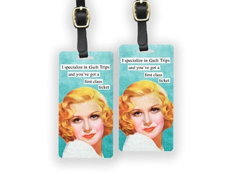 Guilt Trips Sassy Retro Woman Metal Luggage Tag Set Printed Personalized Custom Info On Back , 2 Tags Choice of Straps Funny tag