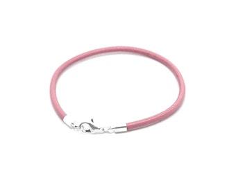 Pink Leather Bracelet , Genuine  Pink  Leather  ,  Stacking Bracelet  ,  Simple Leather Bracelet