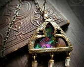 Gianetta Window ~ Iridescent Stained Glass Gothic Arch Amulet