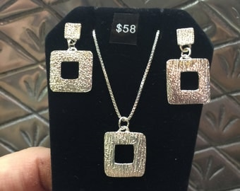 Fine Silver Hammered Look Post Dangle Square Earrings
