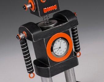 Robot Bobblehead Clock Orange & Black