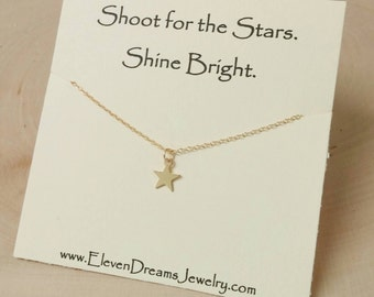 Gold Star Charm Necklace. Shoot for the Stars. Shine Bright. Meaningful. Inspiration. Dainty Layer necklace.
