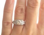Engagement ring, antique engagement ring, art deco engagement ring, 1930s engagement ring, platinum ring, diamond ring