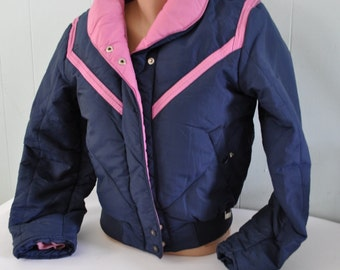 Vintage Ladies Ski Jacket 70s 80s Alpha by Sportcaster Pink Navy Blue Puffy Winter Snow womens SMALL