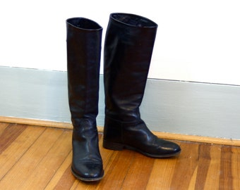 Vintage Black Leather Riding Boots Tall Equestrian Boot Laboratorigarbo Made in Italy Soft Italian Ladies Horse Riding Shoe Womens Sz 35.5 6