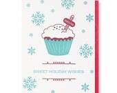 Letterpress Cupcake Holiday Card