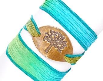 Tree of Life, Silk Wrap Bracelet, Eco-friendly, Boho Chic, Tie Dye, Wrap Bracelet, Yoga Jewelry, Inspirational Wrap Bracelet