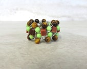 Beaded Band Ring in Green & Brown-Wired Boho Ring with Bright Green Turquoise and Brown Semi Precious Stones