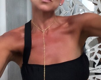 """Long Lariat Necklace-Sexy Gold Chain Y Necklace with Pull Through Gold Bars 18"""" or 32"""" Tarnish Resistant//back necklace 4189N"""