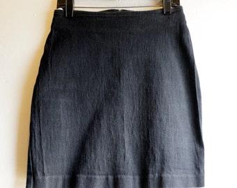 Vintage Cherokee High Waist Short Black Denim Mini Skirt