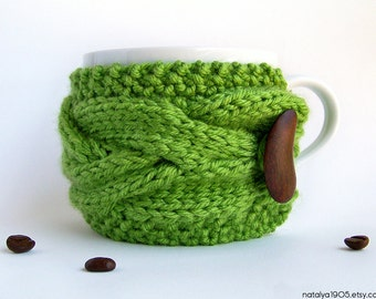 Coffee Cozy, Green Tea Cozy, Chunky Knit Coffee Cozy, Coffee Mug Cozy, Coffee Cup Cozy, Coffee Cup Sleeve, Coffee Sleeve, Gifts Under 20