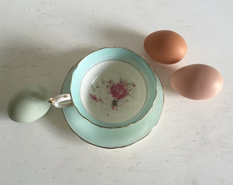 Vintage Paragon Fine Bone China Robins Egg Blue Teacup And Saucer With Pink Roses And Gold Accents