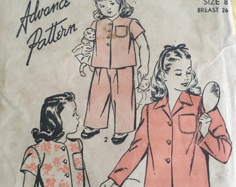 Vintage 1940s Advance Pattern 4183 For Girls Pajamas Set -  Size 8 - Bust 26