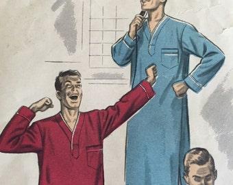 Vintage 1940s Advance Pattern 6811 Mens Night Shirt And Pajamas Set -  Size B - Chest 38-40