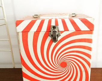 Vintage 1960s 45 Record Holder Case Orange Swirl Psychedelic