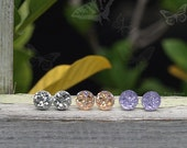 Faux Druzy Studs, 3 Pair Earring Set, 8mm Lavender, Light Peach, Silver Glitter Studs, Titanium or Stainless Steel Posts - Enchanted Evening