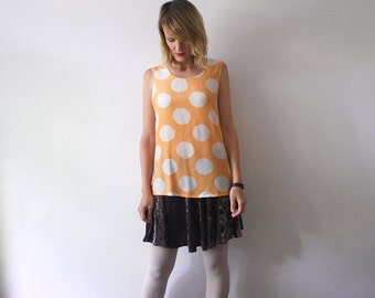 80s 90s slouch silk top. polka dot blouse. sleeveless silk top - small to medium