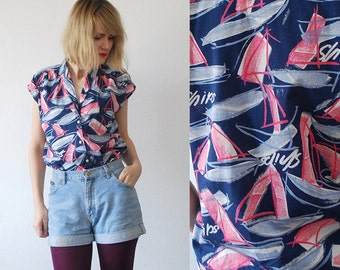 SALE...60s novelty blouse. abstract yachts ships top. 60s cotton blouse - small to medium