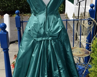 1950's Dupion Silk Bustle Back Gown
