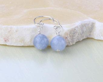 Aquamarine Gemstone Earrings - Light Blue Earrings - March Birthstone Earrings - Dainty Earrings