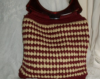 Vintage 1970s Handknit Deep Red Purse with Lucite Tortoiseshell Handles Mint Cond One Size Fits All