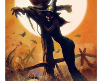 Mike Hoffman Spooky Trick or Treat Witch Moon Print SCARECROW GIRL