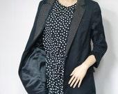 Vintage Black Jacket Women's 1990's Blazer Cotton Studded Ruched Hipster Lined Blazer Jacket Size 12