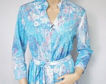 Vintage Blue Casual Dress 1970's Dress Shirtwaist Floral Long Sleeve Belted Full Skirt Dress Size Medium