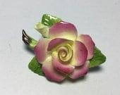 CARA Staffordshire China Flower Pin Brooch