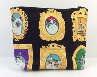 POUCH- Portraits of Fancy Cats **handmade**