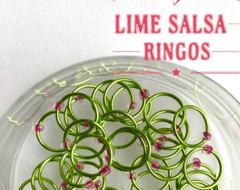 Knitting stitch markers LARGE O-rings, snag free - LIME SALSA