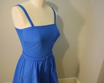 Vintage Swimsuit: 1970s Roxanne Bright Blue Maillot Skirted Bathing Suit M 8 10 12