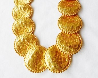 Vintage Brutalist Pounded Large Gold Coin Knobby Edges Statement Roman Choker Collar Necklace Cleopatra Mediterranean Runway Statement