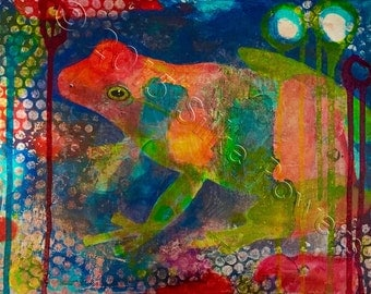 Ribbit - Tree Frog Painting - Original Acrylic Art on Stretched Canvas - 11 x 14 inches (28 x 36 cm)