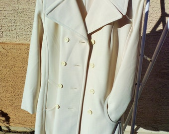 Vintage Jacket Ivory Double Button Ladies Jacket Springtime Size L 1970s 70s