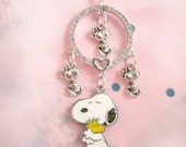 Snoopy Woodstock Friends Hugs Rhinestone Circle Snoopy Charm Necklace