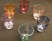 Mid Century Color Glasas Shot Glasses,  Mixed Color  Whiskey Shot Glasses, 1960's Glassware, Vintage 60s Barware, Multi Colored Glasses,