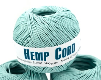Sky  Blue Hemp Cord, 1mm Twine, 430 Feet, Colored Hemp Twine -T70