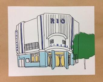 "Dalston Rio Cinema Art Deco 1930s'. Digital Print. 10x8"" (25.4x20.3cm)"