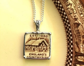 Broken china jewelry pendant necklace antique English countryside cottage scenic transferware recycled china