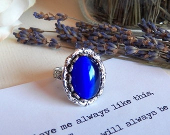 Vintage Glass Cobalt Blue Cat's Eye Silver Ring, Silver Jewelry, Silver Plated Band, Adjustable Ring, Navy Blue, Antiqued Silver Plated