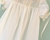 Heirloom Style White or Ivory Dress with Ivory Pintucks Lace Detail Ruffle and Silk Satin Ribbon