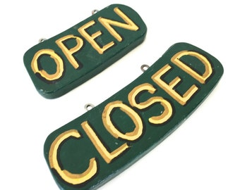True Vintage Open Closed Shop Signs Hand Painted Double Sided Green Yellow Folk Art