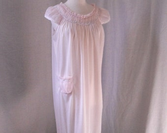 CLOSING SALE! 1960s St. Michael pink nightgown. Chiffon and satin nylon. Ruffles and lace. Size 34/36. Made in England.