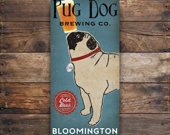 CUSTOM PERSONALIZED PUG dog Brewery - Stretched Canvas Wall Art  Ready-To-Hang Beer Sign Coffee Beer Wine Tea