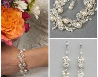 Pearl and Rhinestone Wedding Jewelry Set, Handmade Bracelet and Earring Bridal Jewelry Set, Statement Wedding Bracelet and Earrings