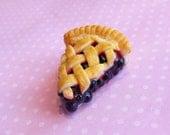 Polymer Clay Blueberry Pie Charm, Key Chain, Dust Plug, Bag Charm, Food Jewelry