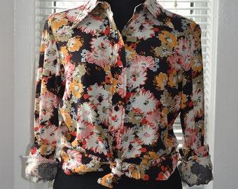 Vintage Mod Blouse - A Pop of Colour - Floral Long Sleeve Top - s/m